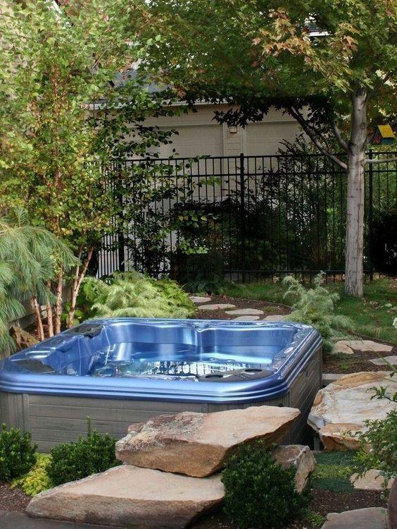 Sunken Hot Tub: Elegant Earthy Design