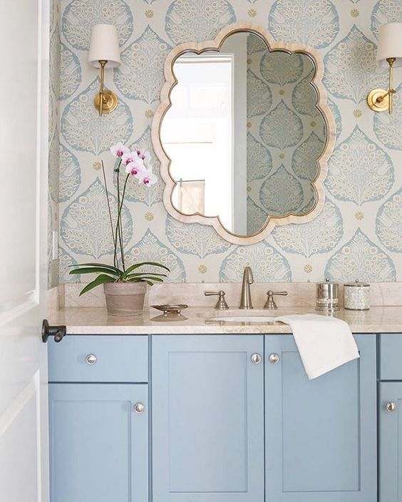 Bathroom Wallpaper Ideas: Pastel Earthy Decor