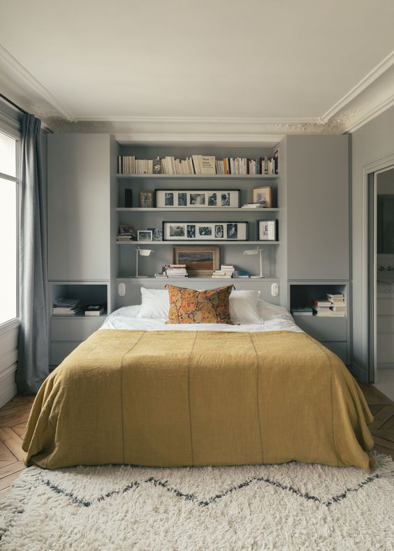 Bedroom Storage Ideas: Chic Headboard Shelf