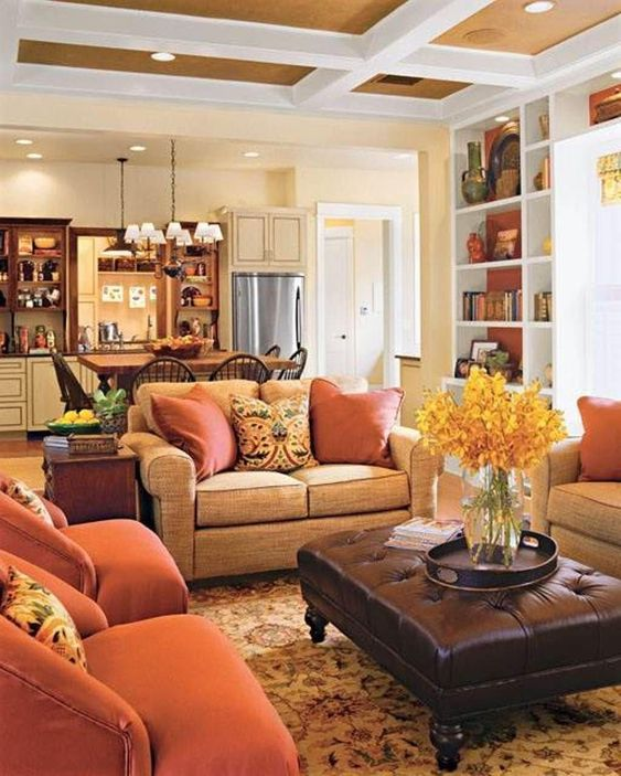 Warm Living Room: Gorgeous Transitional Decor
