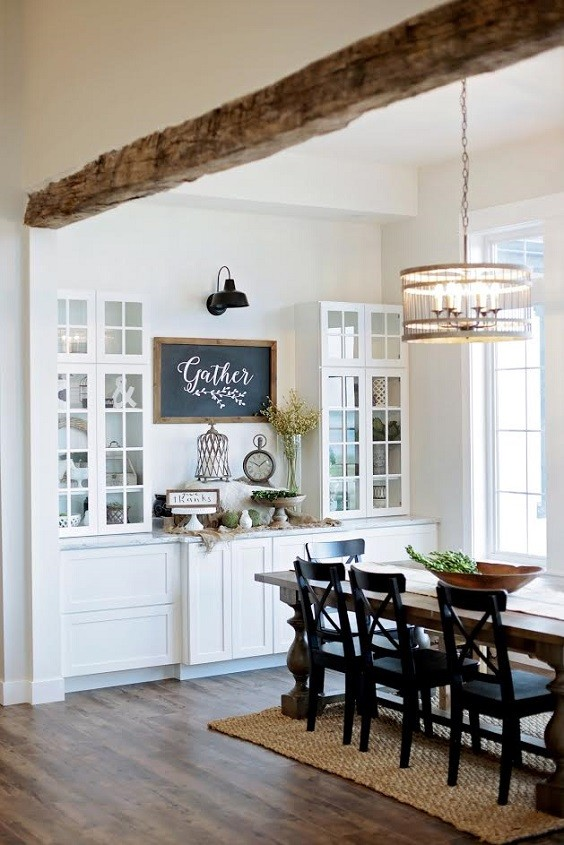 Farmhouse Dining Room Architectural Features