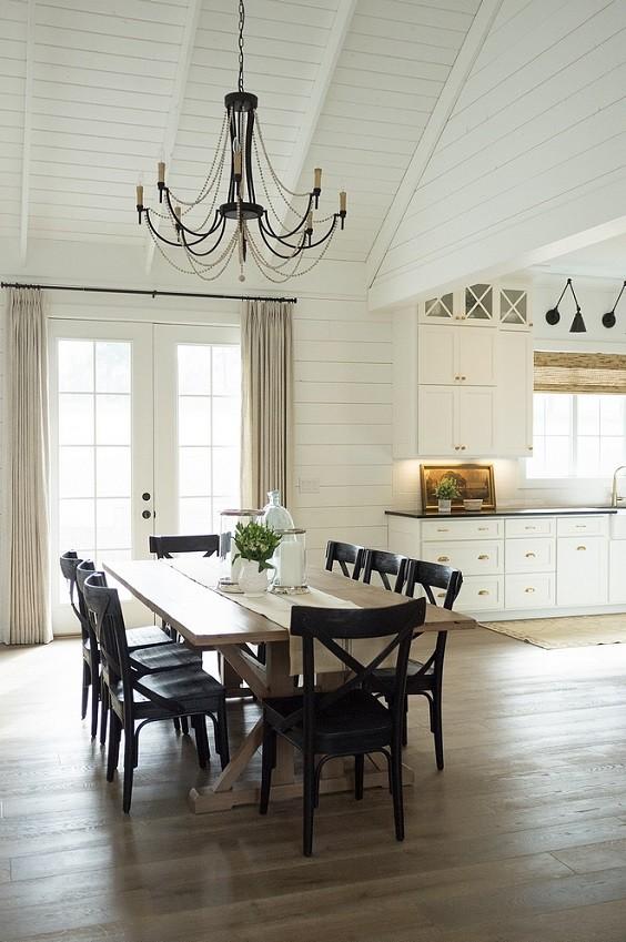 Farmhouse Dining Room Window & Wall Treatments