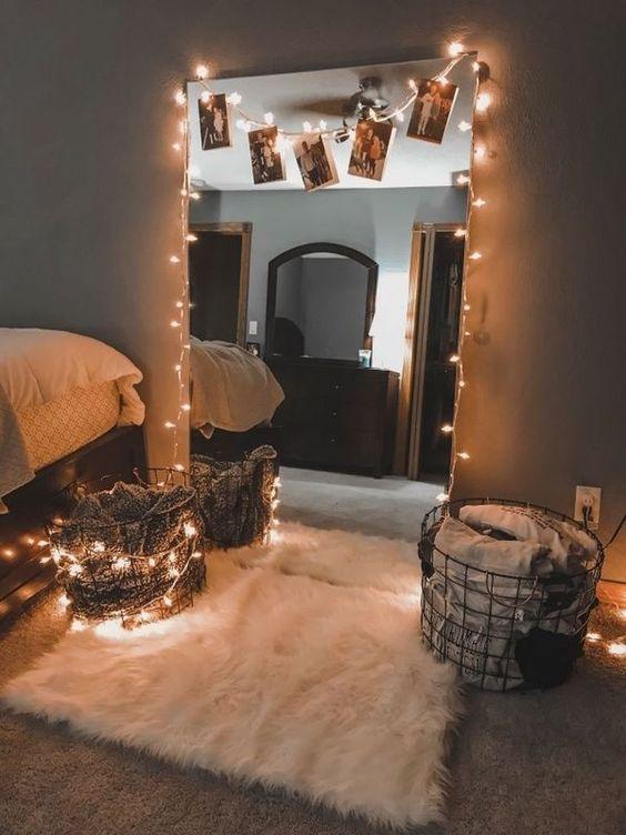 DIY Bedroom Lighting Ideas: Chic Sparkling Mirror