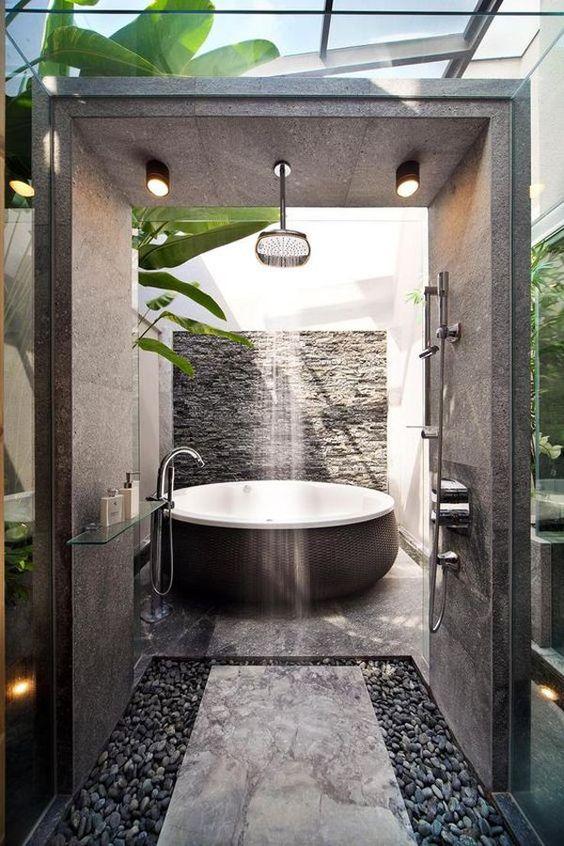 Hot Tub Bathroom: Fresh Sunroom Design