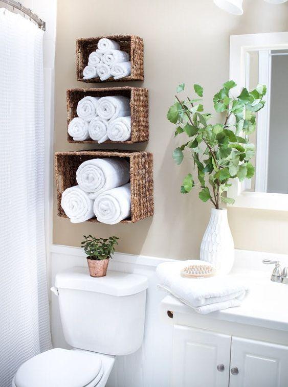 Bathroom Shelves Ideas: Floating Woven Basket