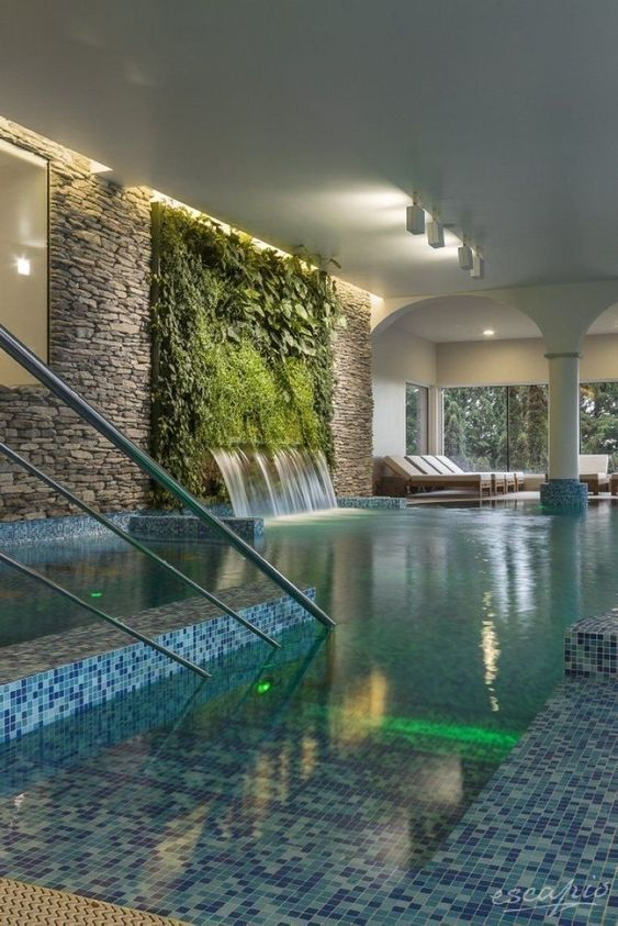 Indoor Swimming Pool Ideas: Fresh Tropical Pool