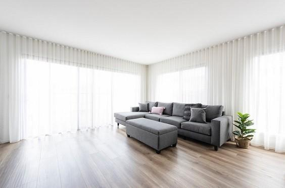Living Room with Curtains